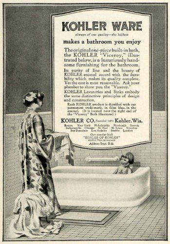 Buy 1917 Ad Kohler Ware Wisconsin Bathroom Viceroy BathTub ...