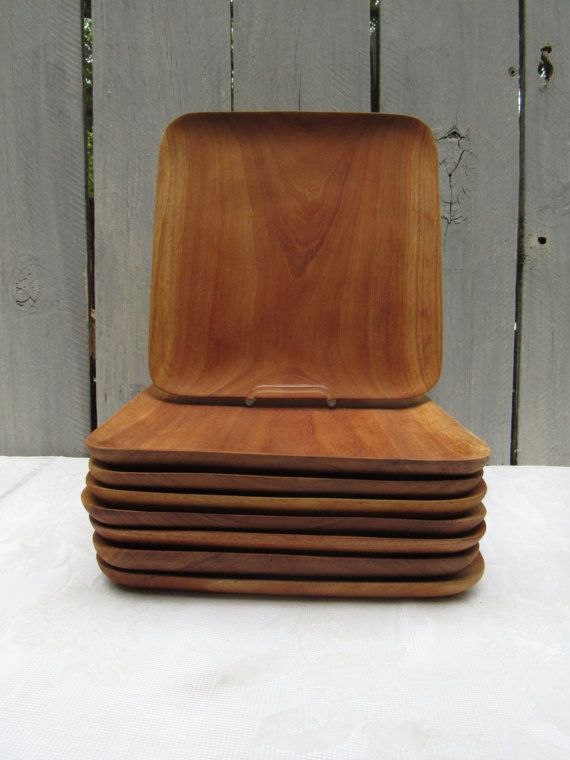 Square Wood dinner plates Square Sushi plates upcycle square wood key \u0026 phone holder 8 wood trays rustic wood charger plates DIY project & Square Wood dinner plates Square Sushi plates upcycle square ...