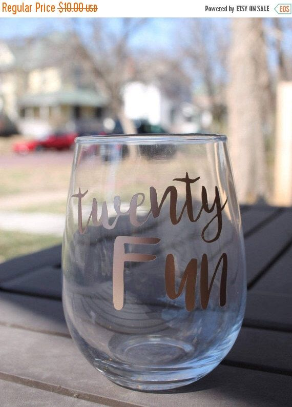 Twenty Fun Custom 15 Ounce Stemless Wine Glass 21st Birthday Giant