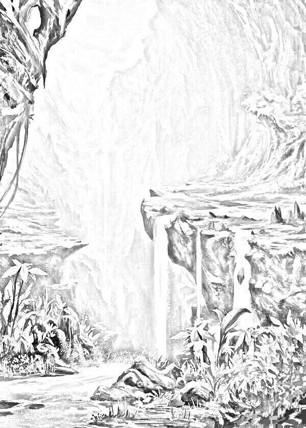 kleurplaten waterval