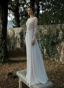 New White Ivory Lace Wedding Dresses Y Sheer Backless Long Sleeve Bridal Gown Ebay