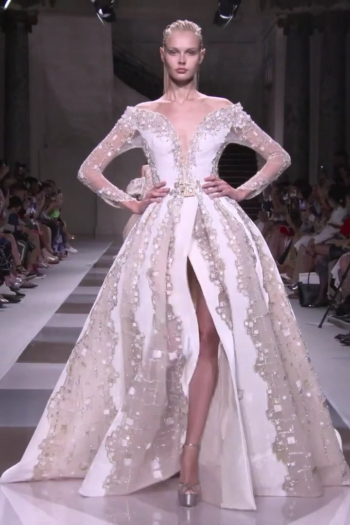 Ziad Nakad Look 48 Fall Winter 2019 2020 Haute Couture Collection Gorgeous Embroidered White Be In 2020 Fashion Gowns Haute Couture Dresses Wedding Dress Couture