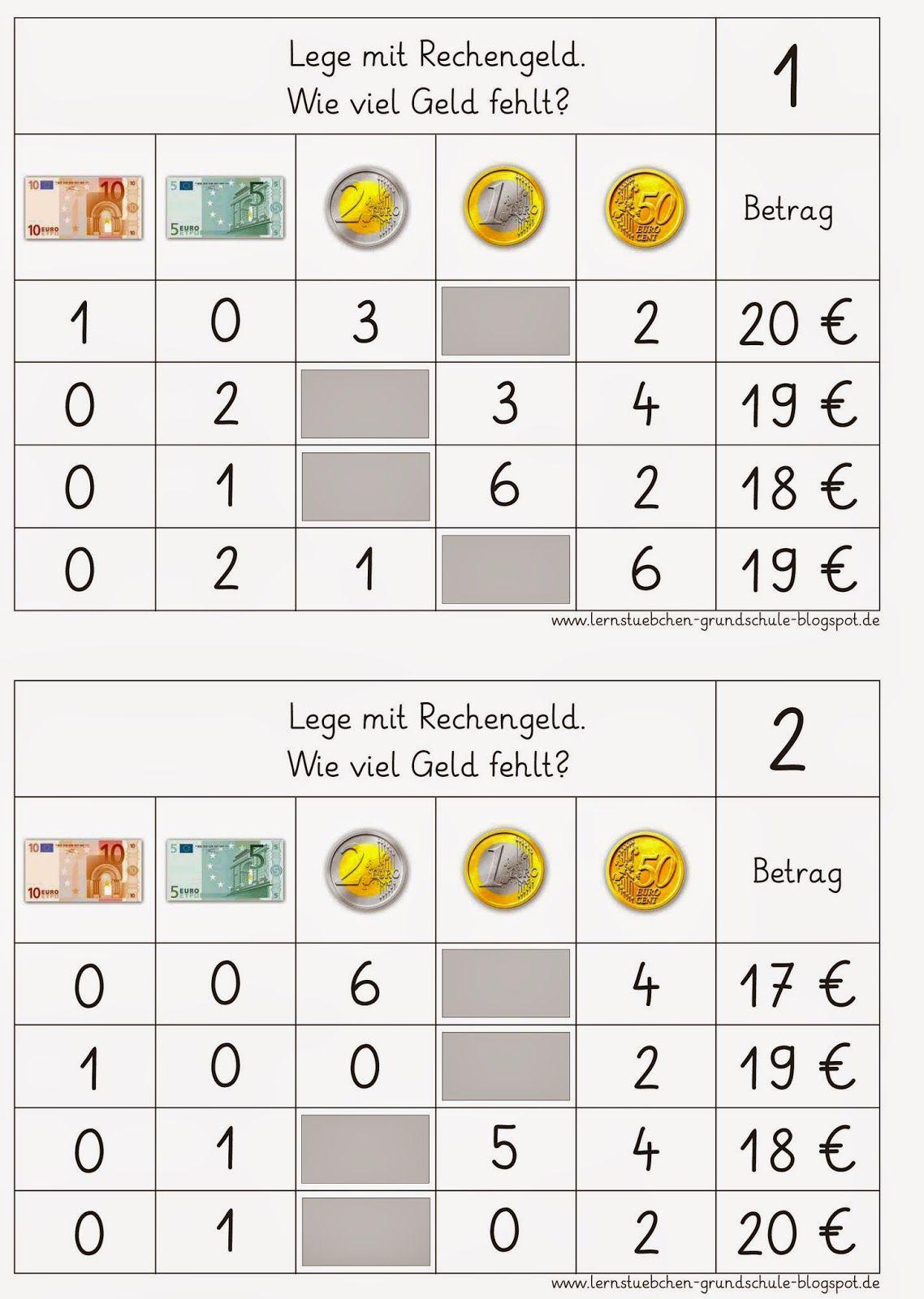 Lernstübchen: Rechenfutter rund ums Geld (4) | Grundschule ...