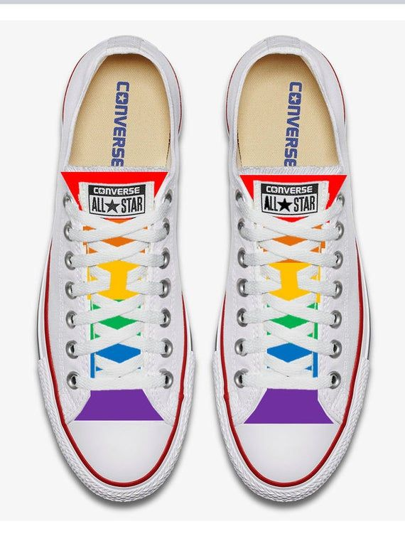 White Converse Hand Painted Gay Pride with Rainbow Flag in