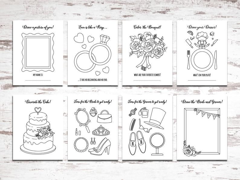 Printable Wedding Activity And Coloring Book Instant Etsy In 2021 Wedding Printables Coloring Books Printable Coloring Pages