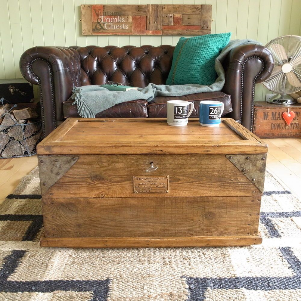 Vintage RUSTIC pine INDUSTRIAL factory TOOL chest TRUNK coffee table BLANKET BOX in Home Furniture