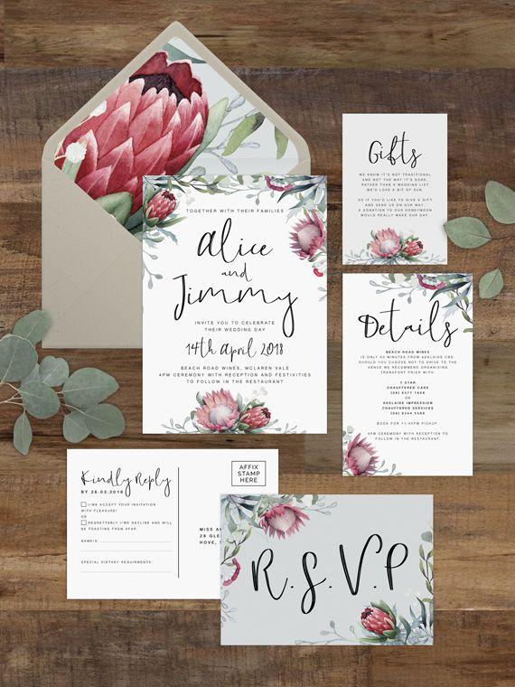 Protea Wedding Invitation Set Printable Rustic