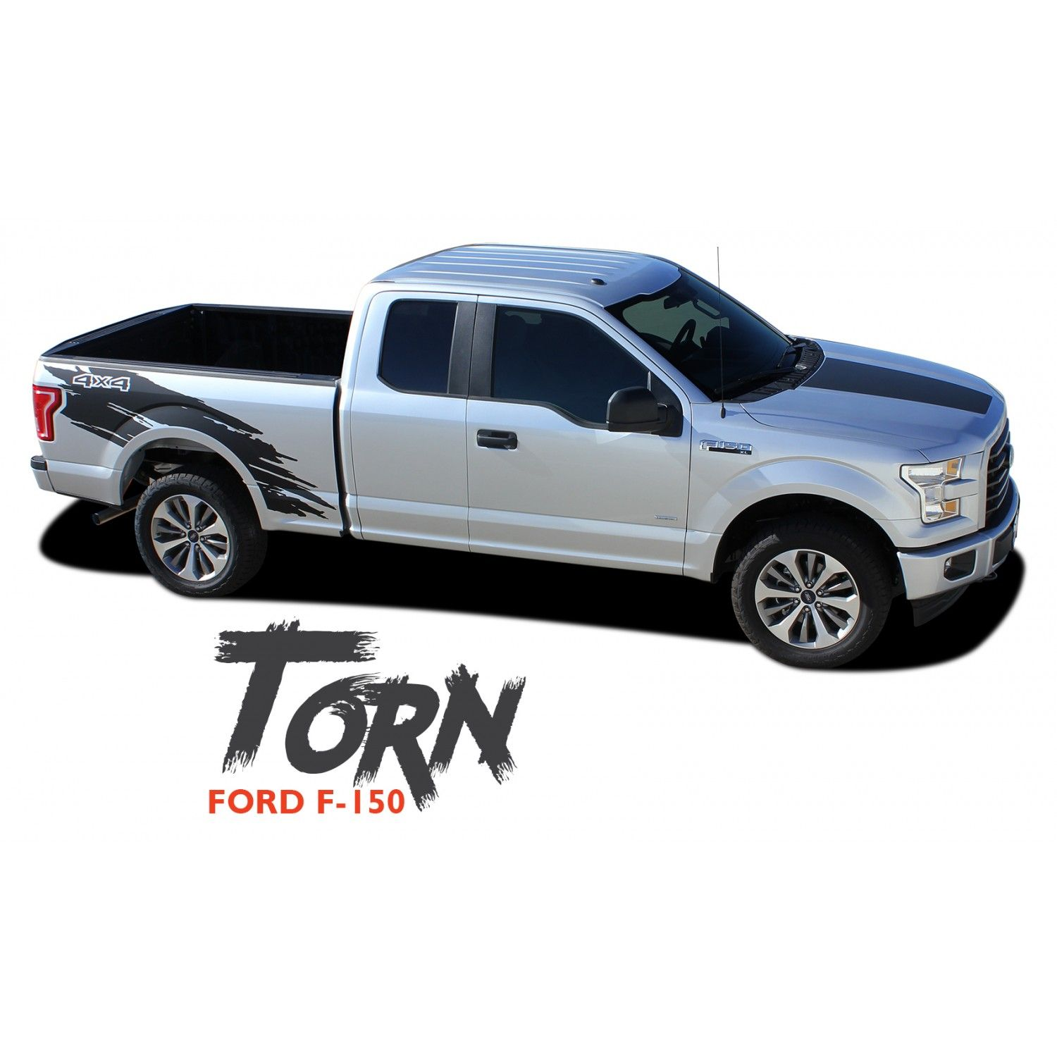 Ford F TORN Mudslinger Side Truck Bed X Rally Stripes Vinyl - Truck bed decals customford fvinyl graphics for bed fender