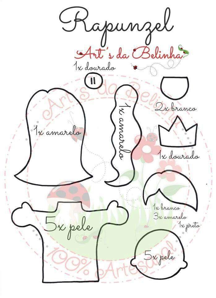 Molde Rapunzel   HISTÓRIA   Pinterest   Moldes, Feltro y Manualidades