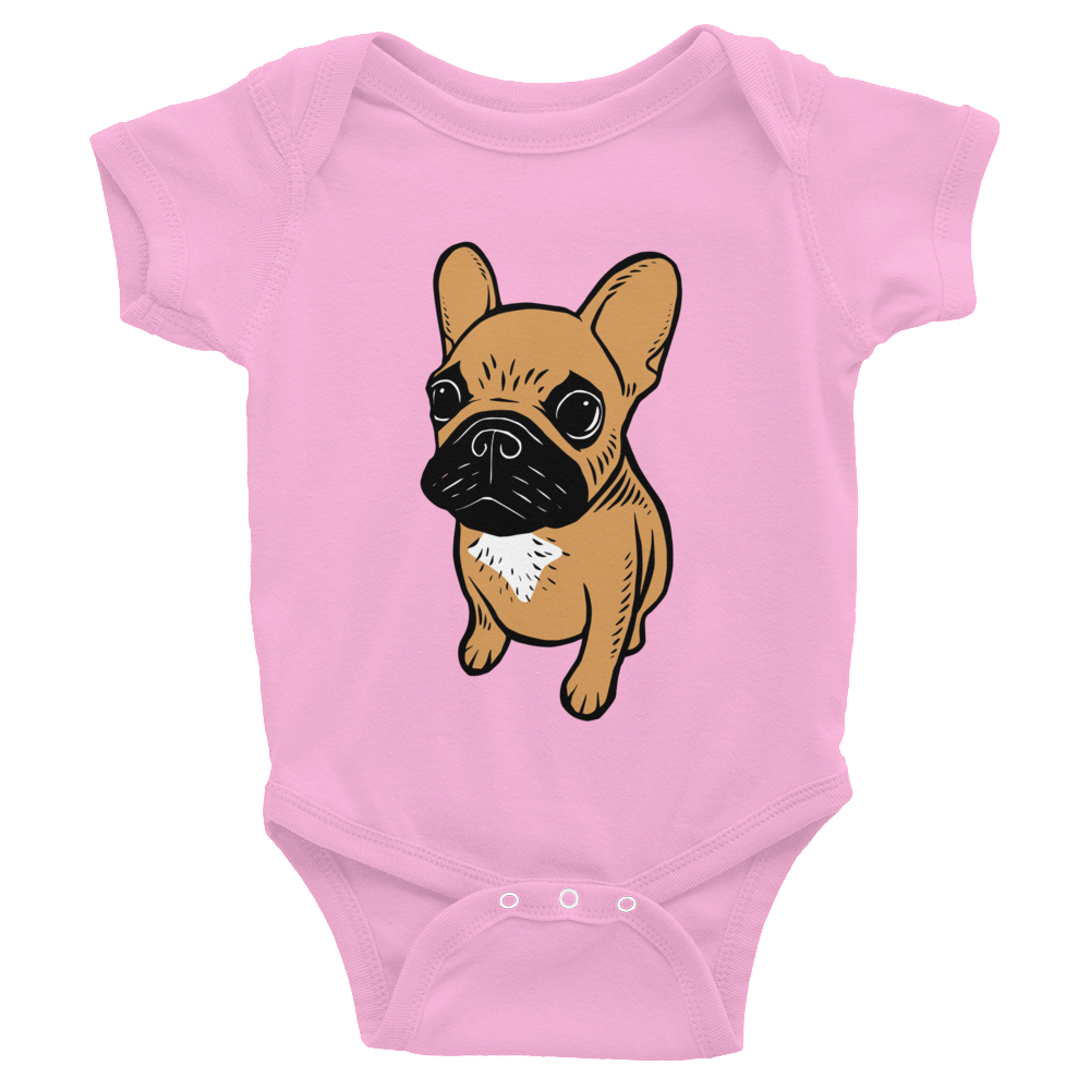 Black mask fawn Frenchie Puppy Infant Bodysuit