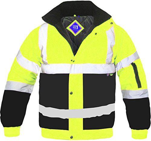 Men Hi Viz Parka Jackets Security Work Waterproof Long Coats Small to 4XL Sizes