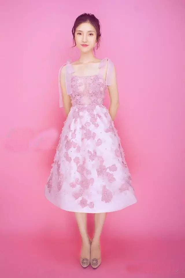 e63ada44e37f4 Pink short dress Sheer Straps Tea length Bows Pale Mauve Applique Hand Made  Flower Beaded Organza
