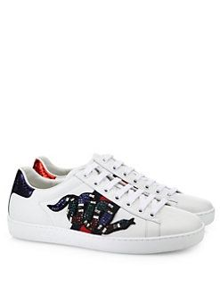 150348f3bbb0 Gucci - New Ace Crystal-Embroidered Snake Leather Low-Top Sneakers ...