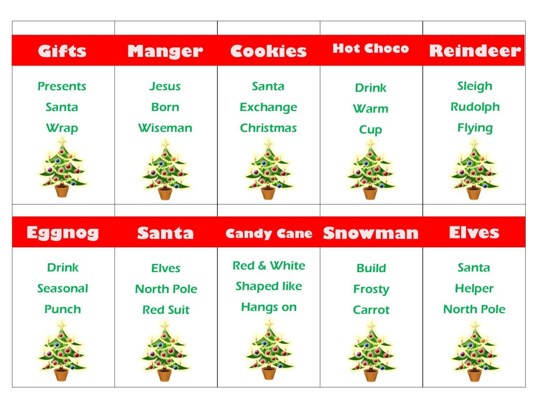 Printable Christmas Game Cards For Taboo