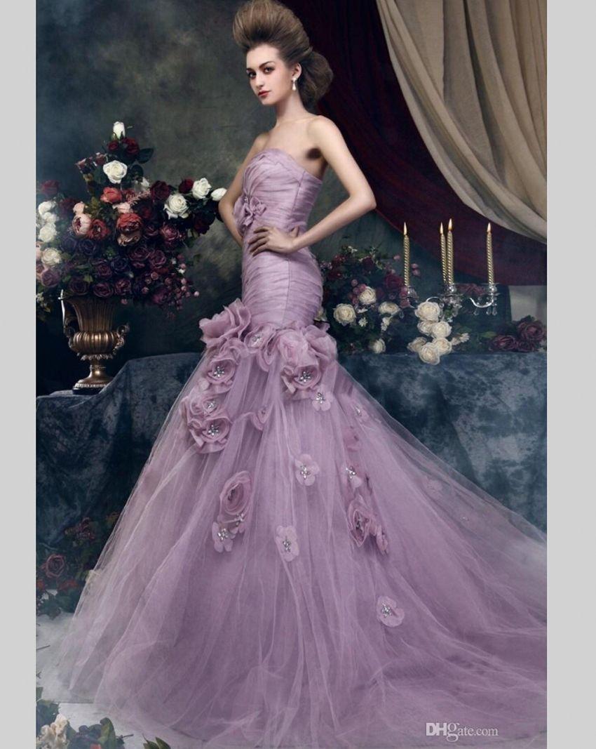 2016 Light Purple Mermaid Wedding Dresses Tulle Bridal Bride