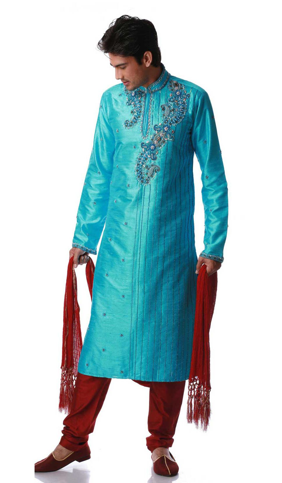 Turquoise-Pure-Silk-Embroidered-Mens-Designer-Kurta-Pajama ...