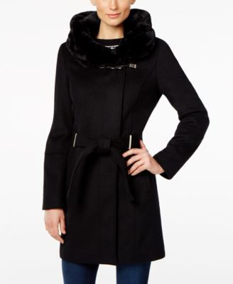625731b5a Calvin Klein Faux-Fur-Collar Wool-Blend Walker Coat | macys.com ...