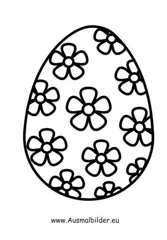 Ausmalbild Osterei mit Blumen 01 Ostereier ausmalen