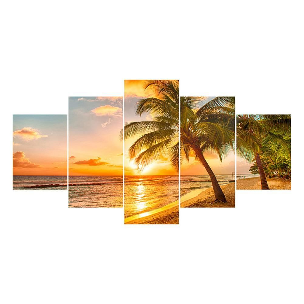 5D DIY Full Drill Diamond Painting Coconut Tree View Cross Stitch Kit Home Decor