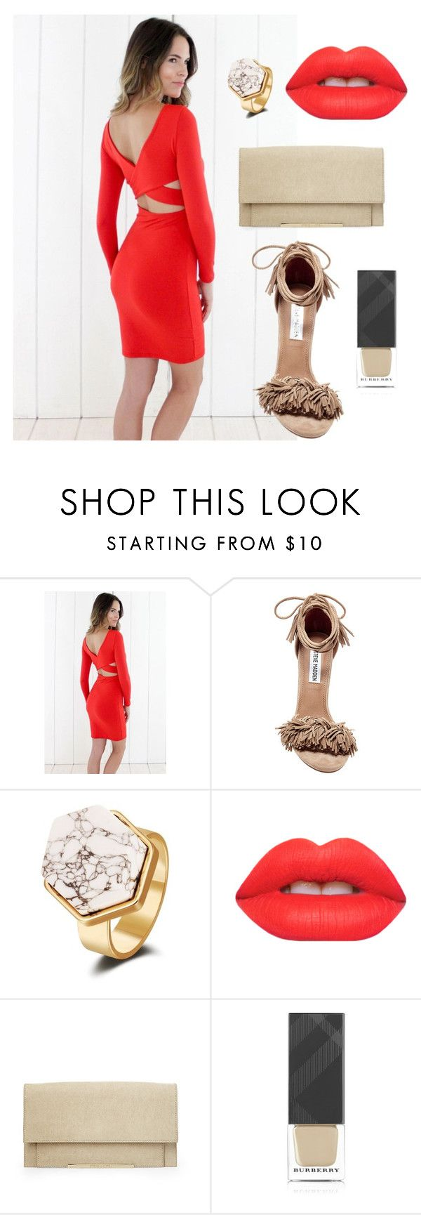 """""""Rouge Radiance"""" by caciqueboutique on Polyvore featuring Steve Madden, Lime Crime, Burberry, stilettos, nude, redlipstick, bodycon and caciqueboutique"""