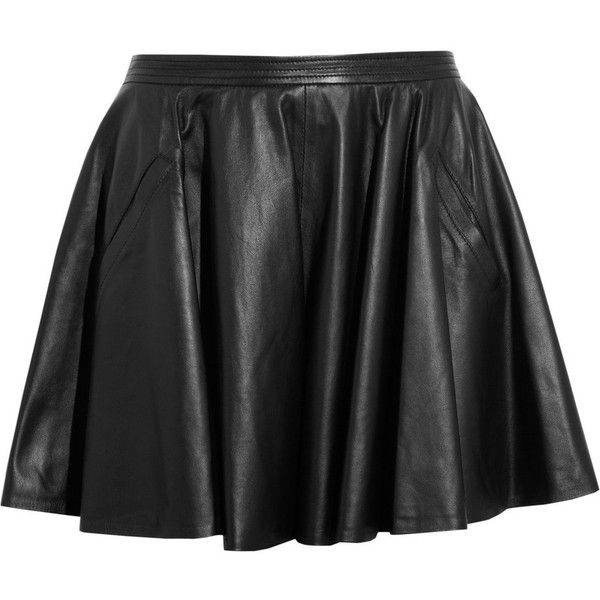 Chalayan Leather skater skirt (1,370 ILS) ❤ liked on Polyvore featuring skirts, bottoms, saias, faldas, black, circle skirt, leather skater skirt, skater skirt, black skater skirt and flared skirt