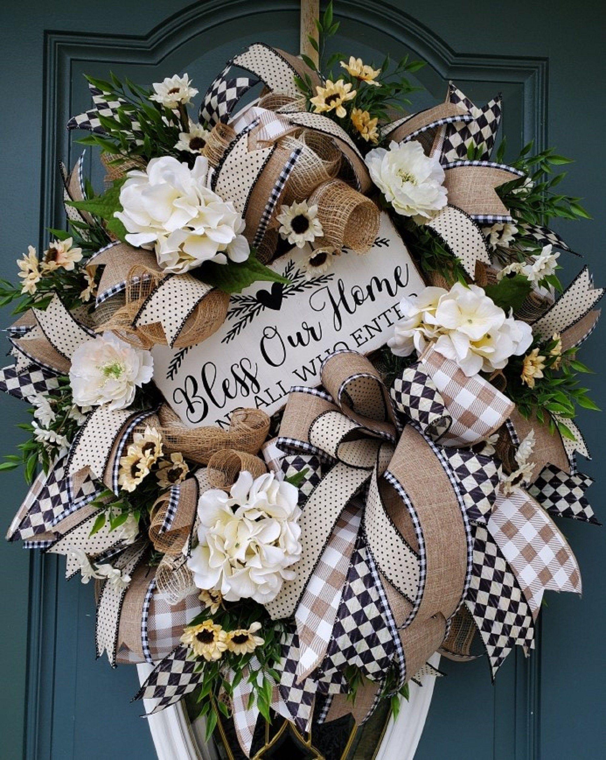 Photo of XL Deluxe front door wreath / farmer wreath for front door / Bless our house wreath / summer wreath / welcome wreath / everyday wreath