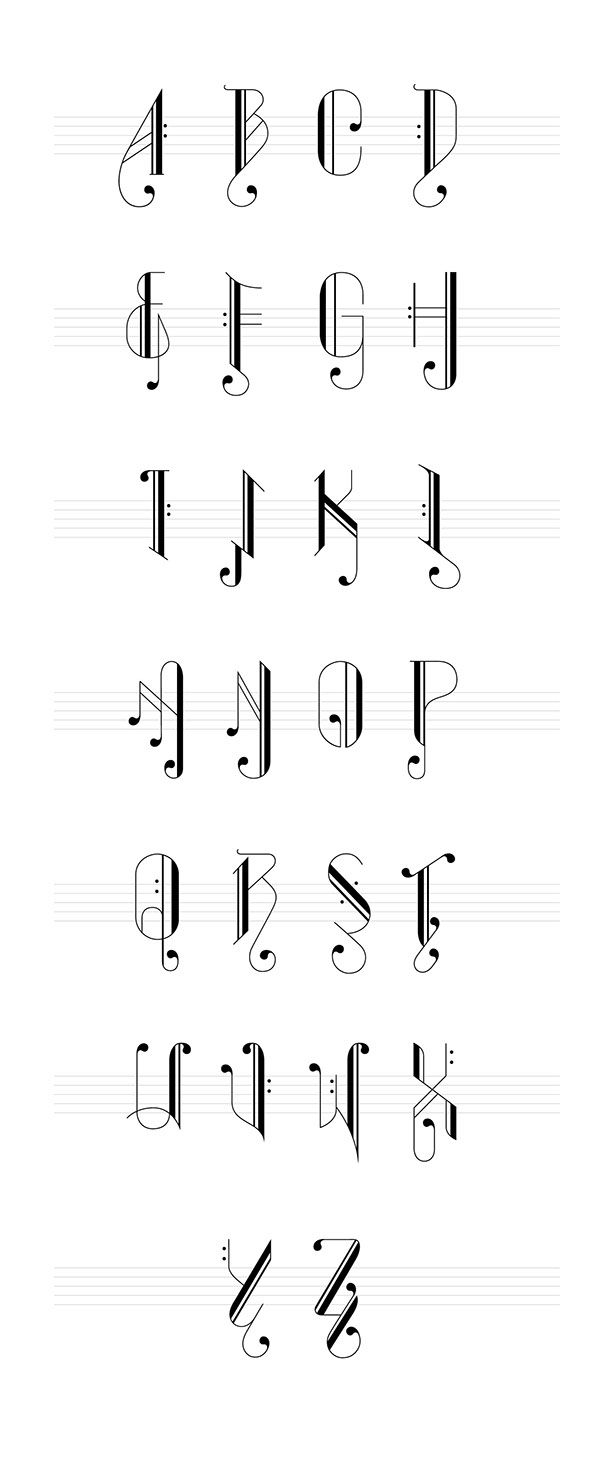 A Set Of Typography Inspired Of Music Notes The Words Are Form Up
