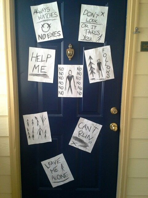 Creepy Slenderman Halloween Door Decoration Halloween Door Decorations Door Decorations Halloween Door