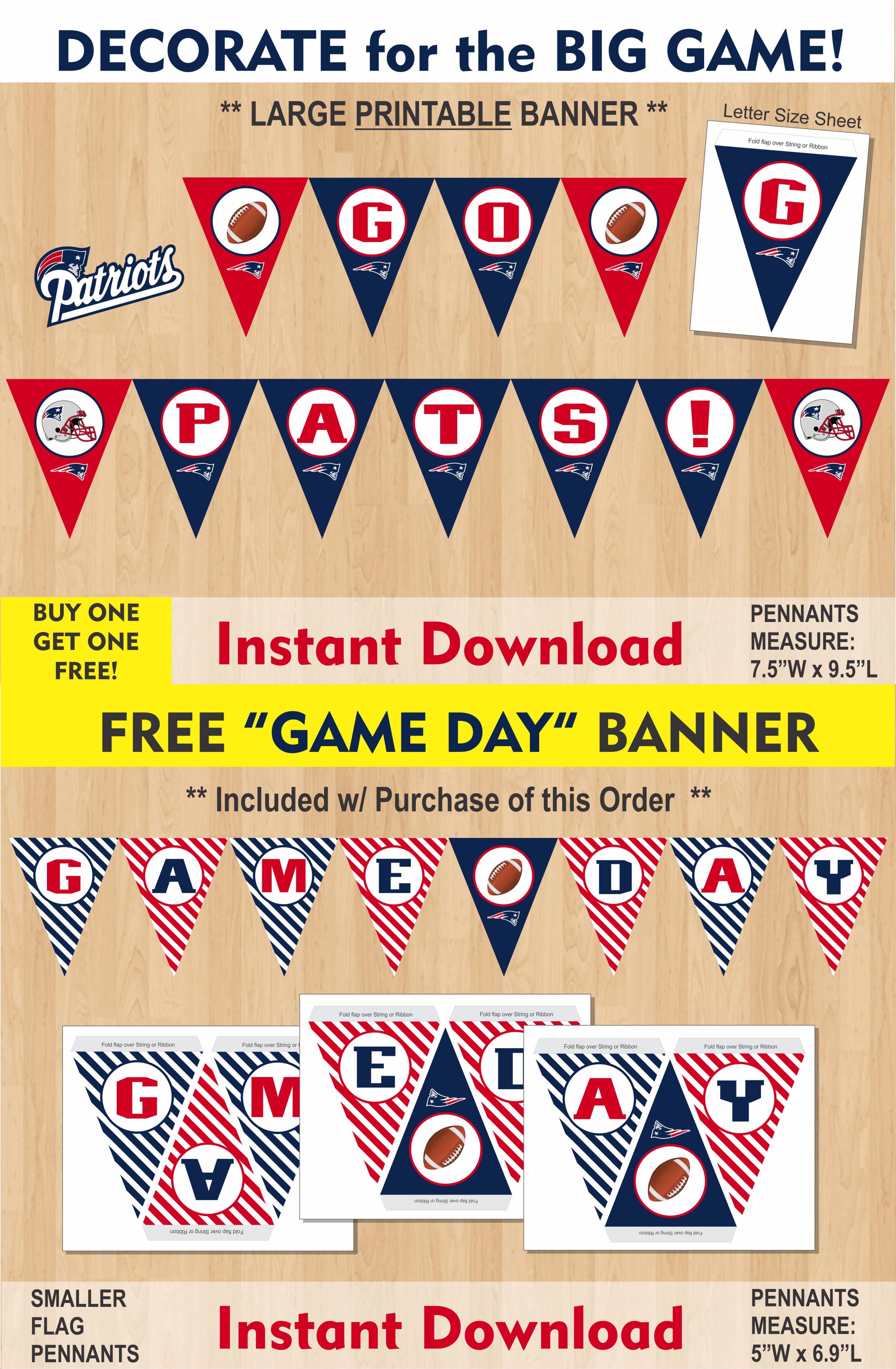 Patriots Banner Super Bowl Banner Superbowl Banner New England Patriots Party Large Super Bowl Banne Party Favor Bags Diy Printable Banner Party Favor Bags