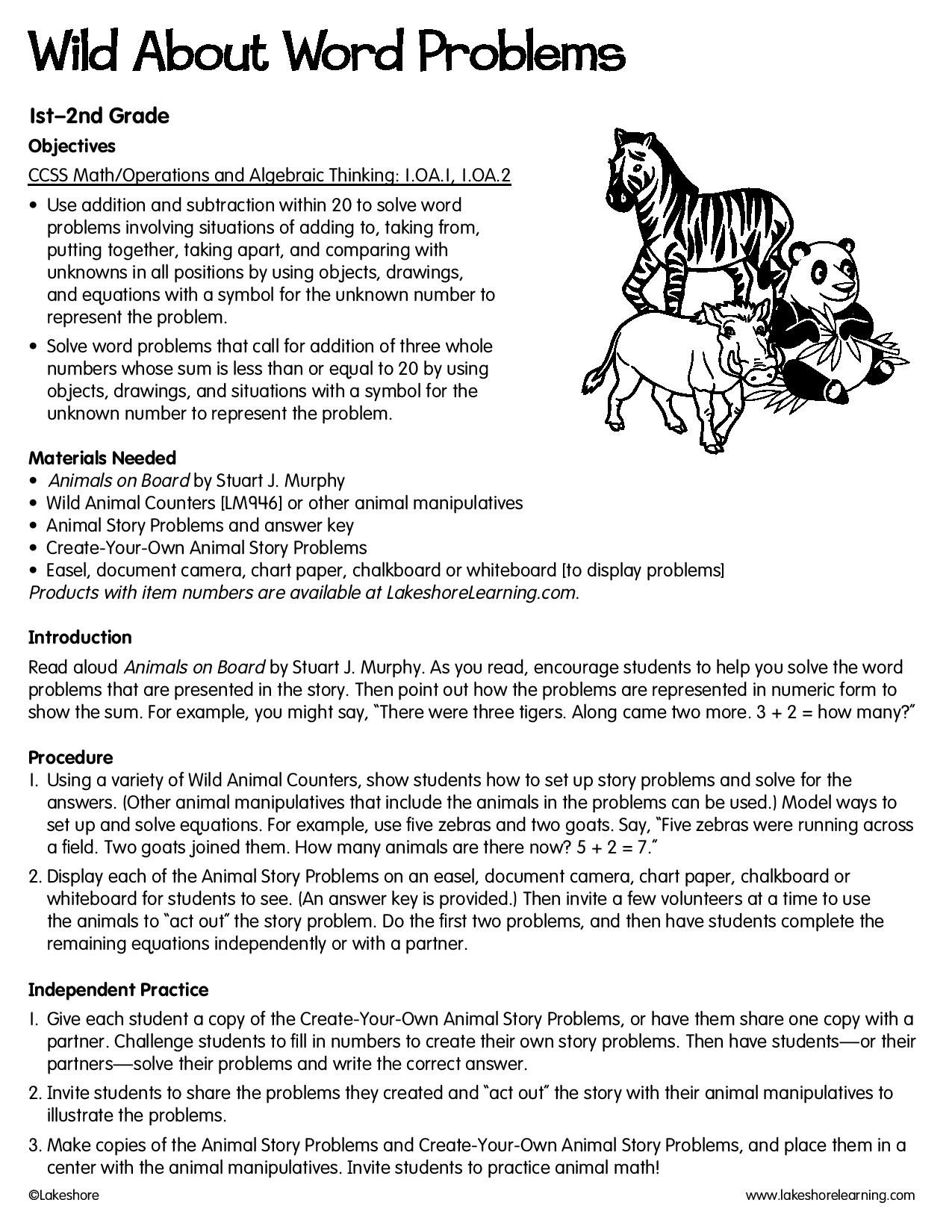 Wild About Word Problems Lessonplan Readingcomprehension