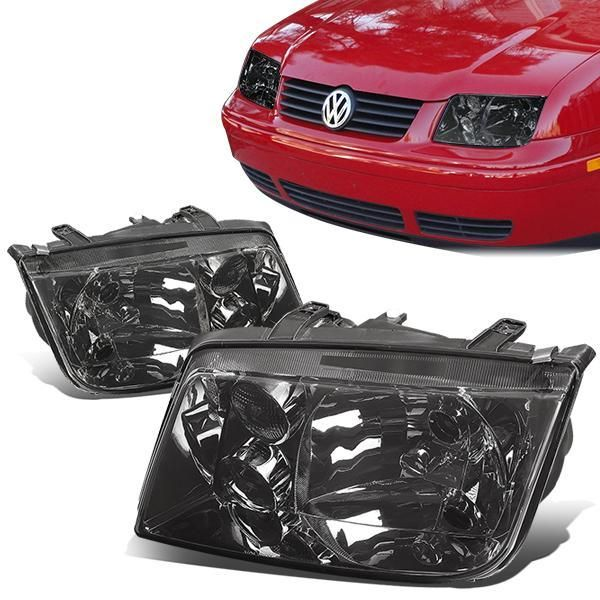 D Motoring 99 05 Volkswagen Jetta Headlights Smoked Housing Lens Clear Corner Plug N Play Pair