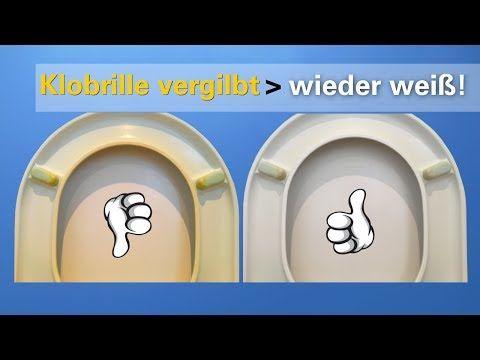 Vergilbte Klobrille leicht reinigen. Toilettensitz von gelb nach hell