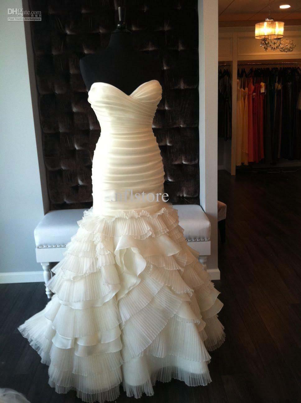 Cheap Strapless Ruffled Organza Mermaid Wedding Dress Pleated Zipper Chapel Train Bridal Gown From Nflstore 155 48 Dhgate Com Wedding Dresses Mermaid Wedding Dress Dresses [ 1296 x 968 Pixel ]