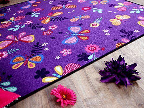 Teppich Schmetterling Rosa ~ Kinder spiel teppich schmetterling lila in größen amazon