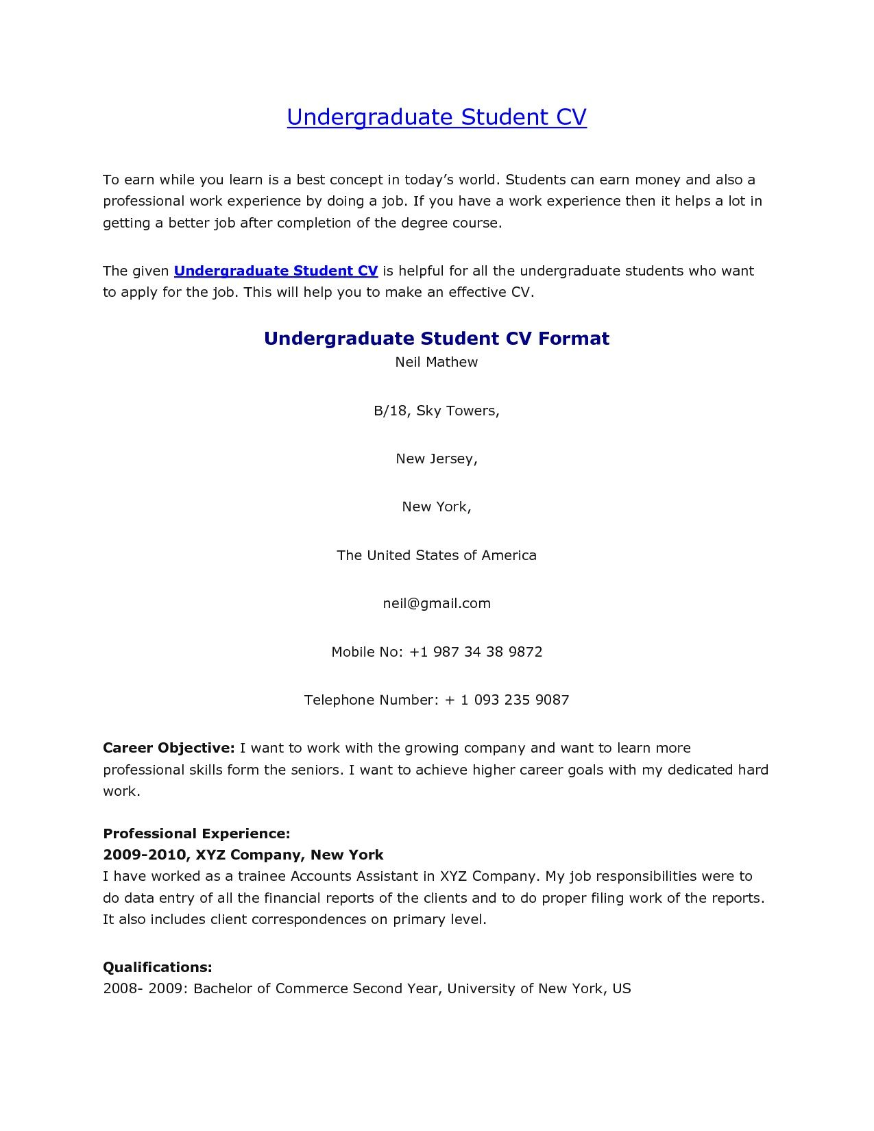 Resume For Undergraduate Student - Resume Sample