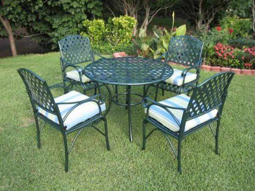 Diamond 5 Piece Iron Dining Set Table And 4 Chairs In A Dark