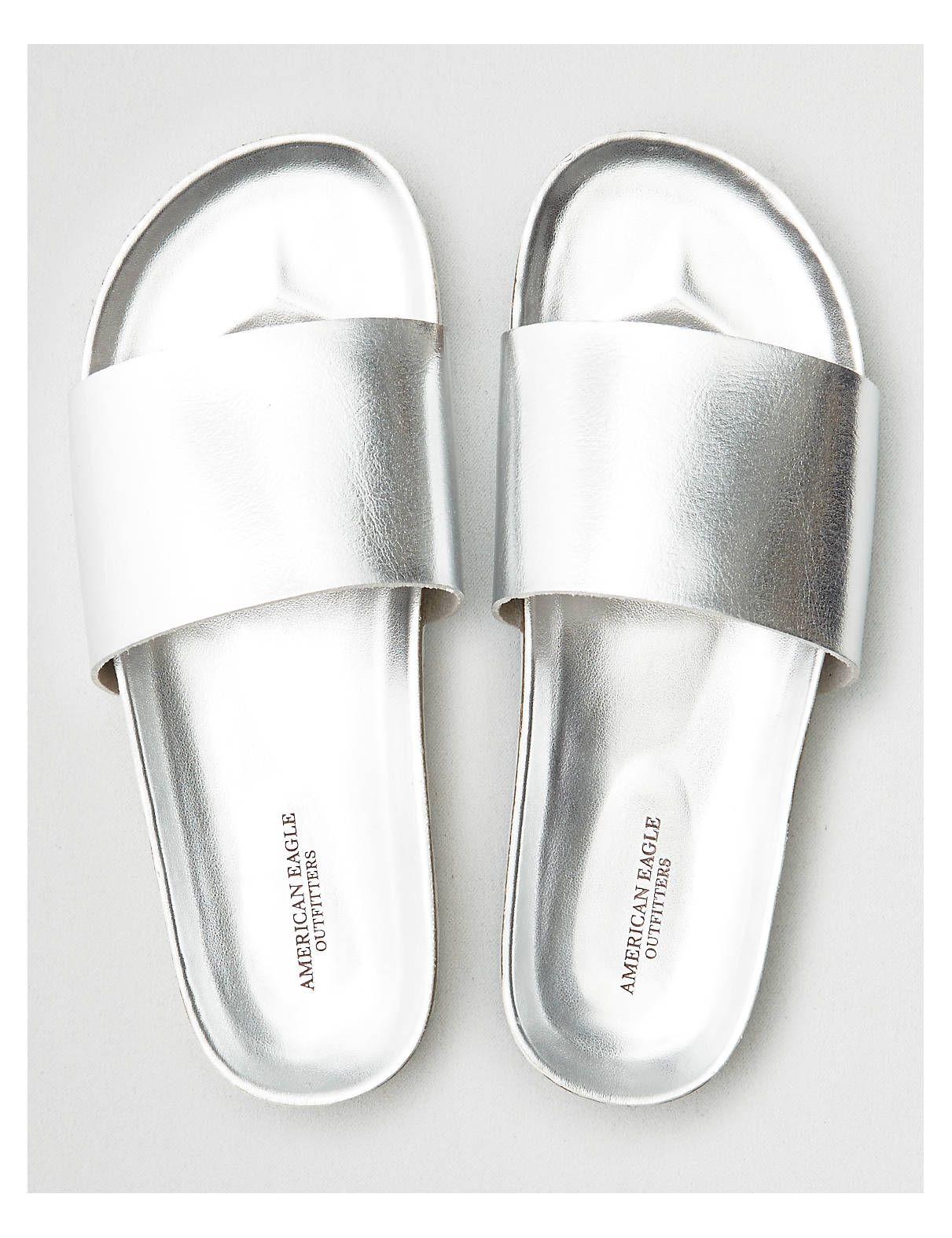 Christie Metallic Rubber Sandaler Pool Sliders Slip In Silver