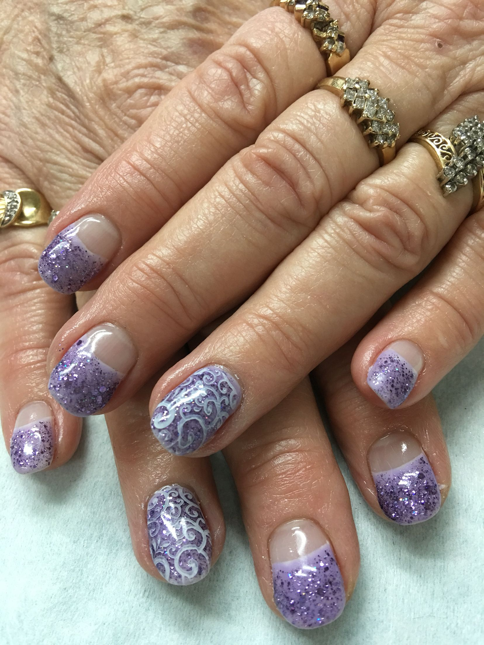 Lavender and purple glitter high French and stamped gel nails. | Gel ...