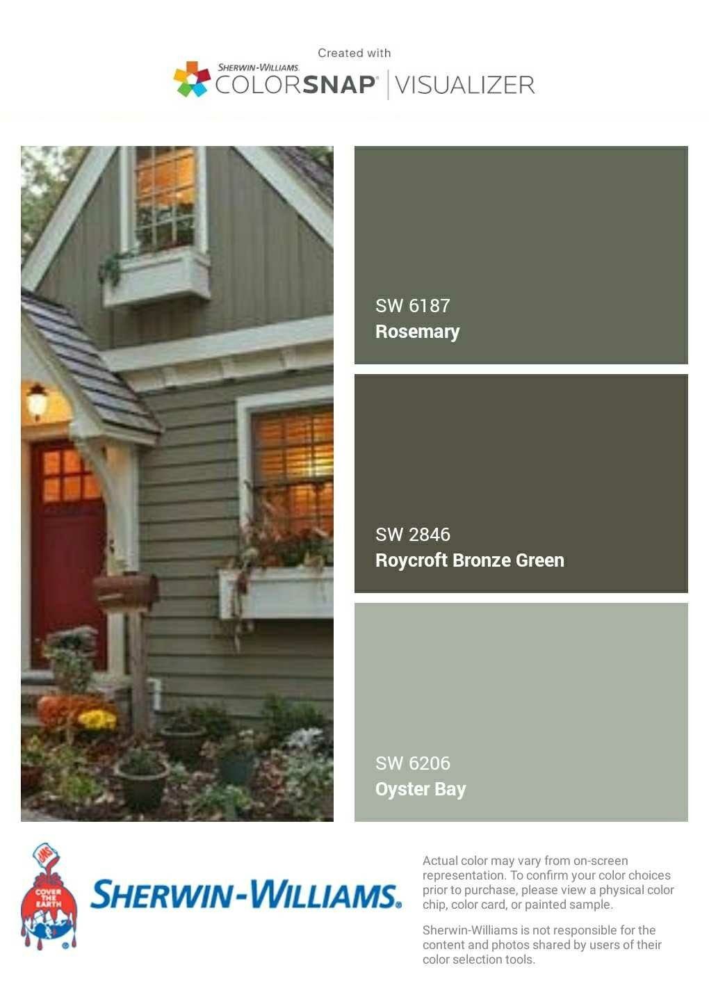 I Just Created This Color Palette With The Sherwin Williams Colorsnap Visuali Green House Exterior Green Exterior House Colors Exterior Paint Colors For House
