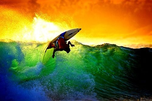 Surfing Sunset Surf Surfing Surfer Surfers Wave Waves