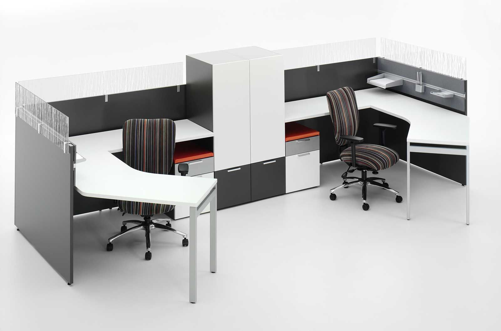 first office casegoods cubicle with compact file cabinets
