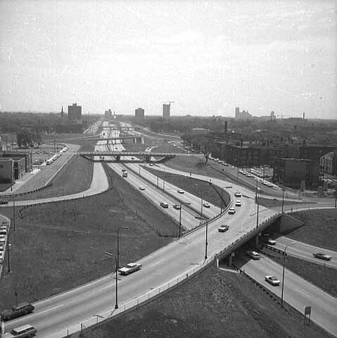 View from Curtis Hotel looking south on Interstate 35W
