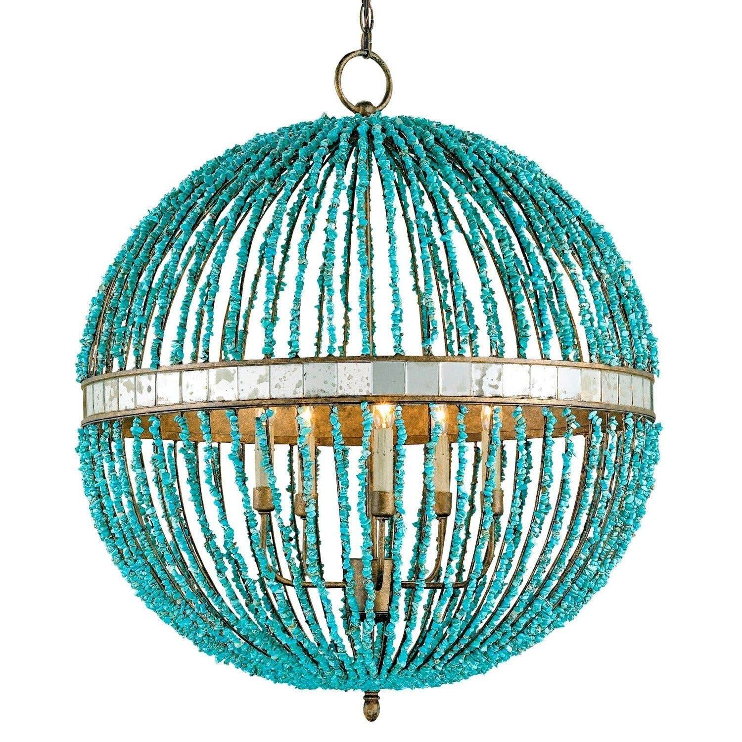 Turquoise Beaded Chandeliers High & DIY