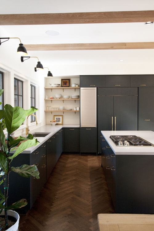Modern Transitional Chef S Kitchen With Herringbone Floors Blue