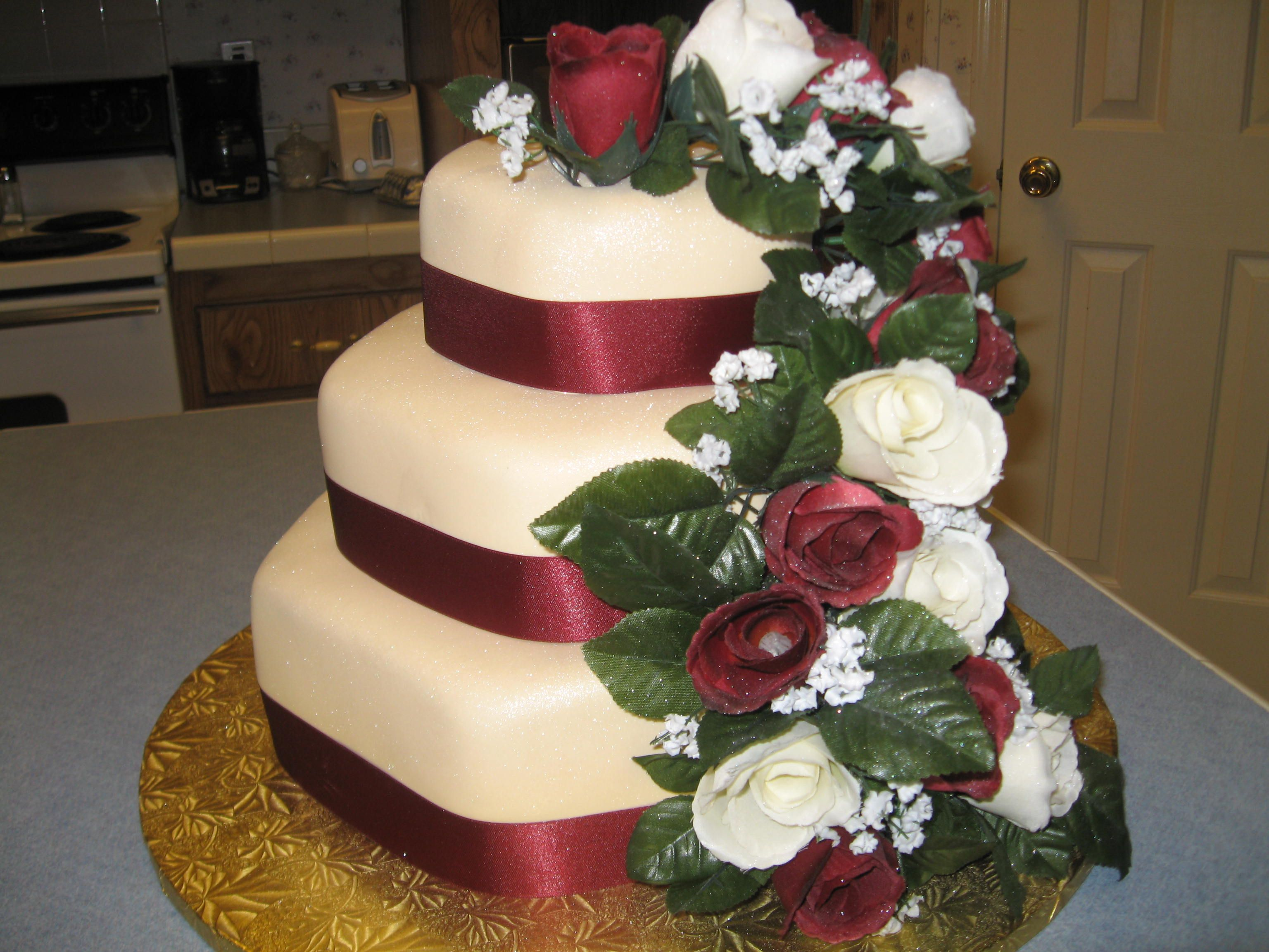 Burgundy And Cream Wedding Cakes Hexagon Rose Cake Other Mixed Shaped