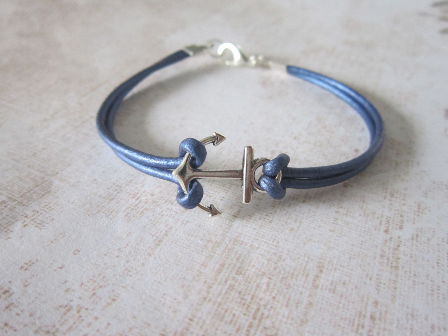 Color Leather Cord Anchor Bracelet - Your choice of 14 colors.  6.00 ... cd25919c4