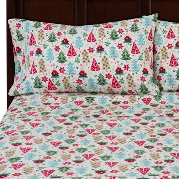 Flannel Sheet Set Christmas Trees Poinsetta Holly New Twin Full