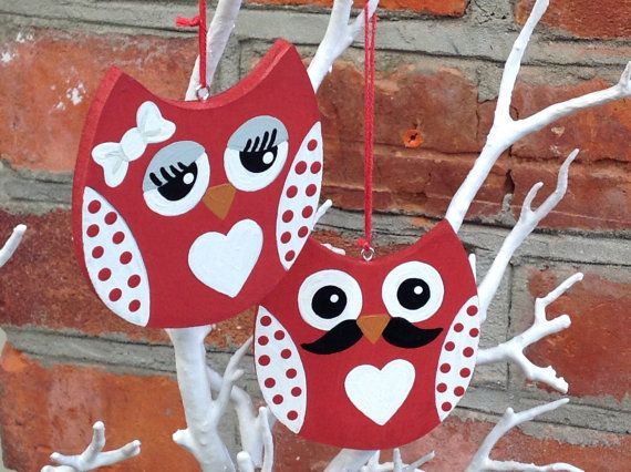 Wooden Hanging Owls - handmade, hand painted, home decor, decoration, Valentines Day