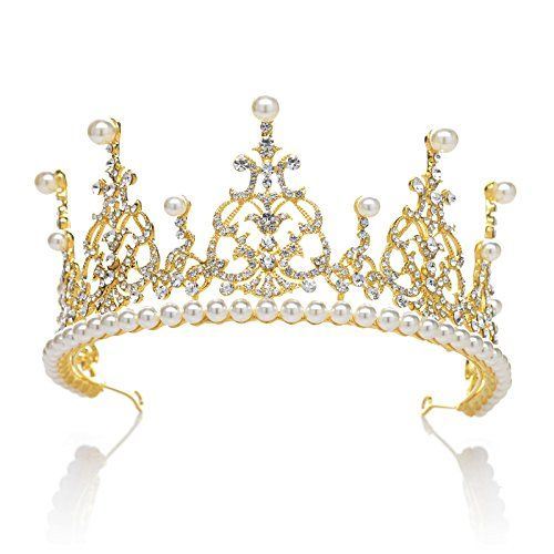 SWEETV Royal Wedding Crown Pearl Rhinestone Princess Tiara Bridal Hair Accessories Gold -- To view further for this item, visit the image link.(This is an Amazon affiliate link and I receive a commission for the sales)