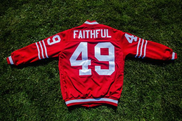 Mens Stadium Club Jersey Jacket Faithful 49 Red White Pre Order Jersey Jacket San Francisco Giants Outfit Team Jackets